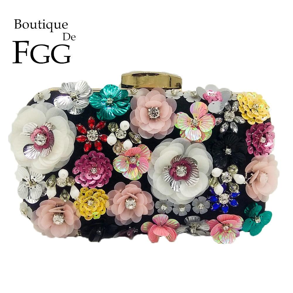 Boutique De FGG-Bolso De noche con flores para Mujer, Cartera De mano...