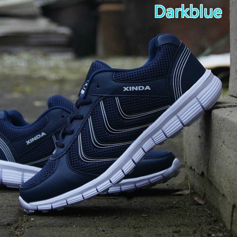 Tênis respirável rendas até homens tênis de corrida super leve sapatos de desporto ao ar livre andando sapatos casuais jogging tamanho grande 35-48