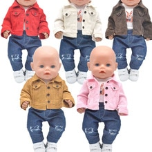 Dolls clothes for 43cm Toys new born doll and American doll Jackets Hole jeans T-shirt Girl's gift