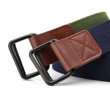 Fashion Hot Sale Ladies Canvas Belts Young Student Jeans Belt Double Loop Buckle PU leather Men Work