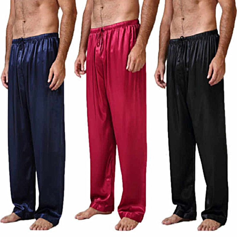 Men's Silk Satin Pajamas Nightwear Lounge Pants Casual Sleep Loose Bottoms Pants Plus Size S-3XL Nig