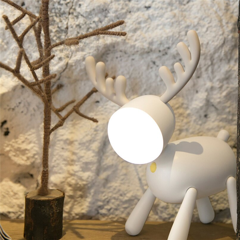 Led Usb Charging Elk Night Light Charging Cute Deer Atmosphere Light Intelligent Timing Lovely reading light table lamp Gift enlarge
