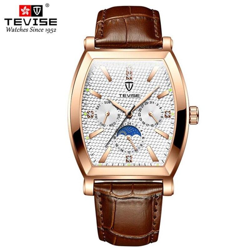 TEVISE Top Brand Vintage Tonneau Dial Luxury Men Watches Leather Strap Multifunction Quartz Watch Bu