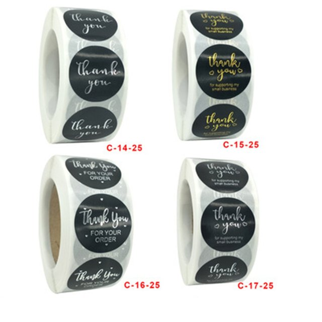 1 Inch - 500Pcs Roll Thank You Flower Stickers 6