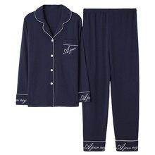 Azul oscuro mujer Otoño e Invierno 100% algodón Pijama traje de manga larga Simple Soild Loose Home Suit Plus Size pijamas Set XL XXL XXXL
