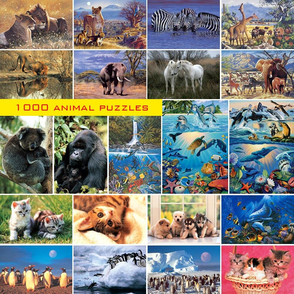 1000 rompecabezas de animales para niños y adultos para aprender regalo de relajación Cuadros decorativos para habitación