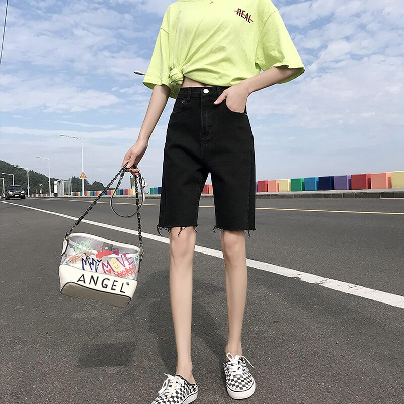 Summer Black High Waist Denim Shorts Women's Summer 2021 New Small Cropped Pants Thin Straight Jeans