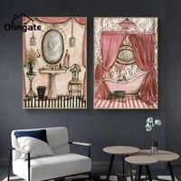 Peinture sur toile  dessin anime retro  Art mural Vintage  Style francais  Shabby  affiche une piece  decoration de salon
