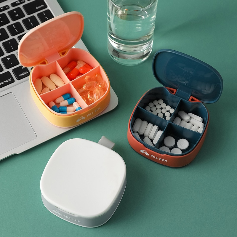 Four Grid Pill Case Folding Vitamin Medicine Drug Pill Box Pill Stash Container Tablet Container Cutting Drugs Dropshipping