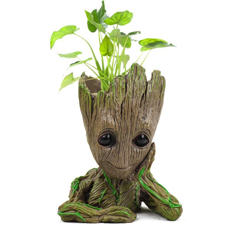 Pote de flor maceta de figuras de acción de hombre-árbol modelo juguete para porta bolígrafos para niños creativos jardín flor maceta jardinera