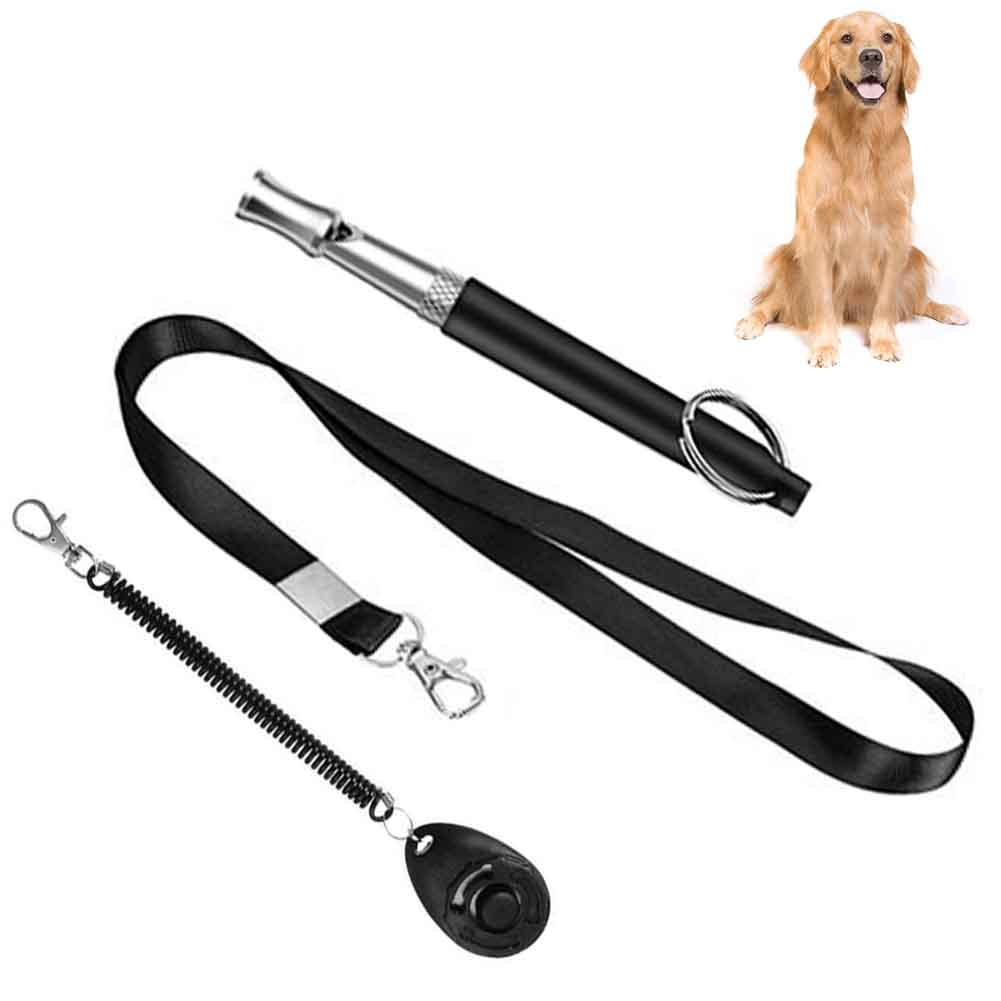 Parar de ladrar cão apito conjunto resistente à ferrugem jardim casa com cordão pet formação clicker universal portátil ajustável passo