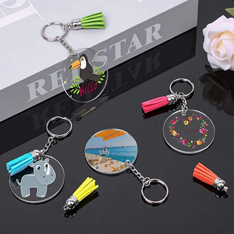 200 Pcs Acrylic Keychain Blanks Kit with Key Rings Jump Rings Round Clear Discs