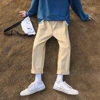 solid color mens harem pants 2020 korean men casual straight pants harajuku man cotton trousers 3xl