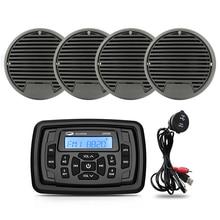 Marine Bluetooth Stereo Radio FM AM MP3 Player Audio Receiver +2Pairs 3 Inch Waterproof Outdoor Mari