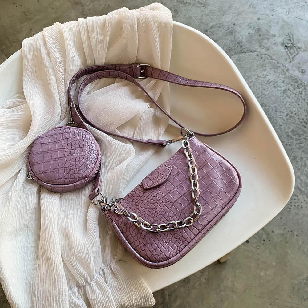 Bolsa de ombro de couro pu feminina, 2 peças, estampa de crocodilo, bolsas redondas para mulheres, 2020