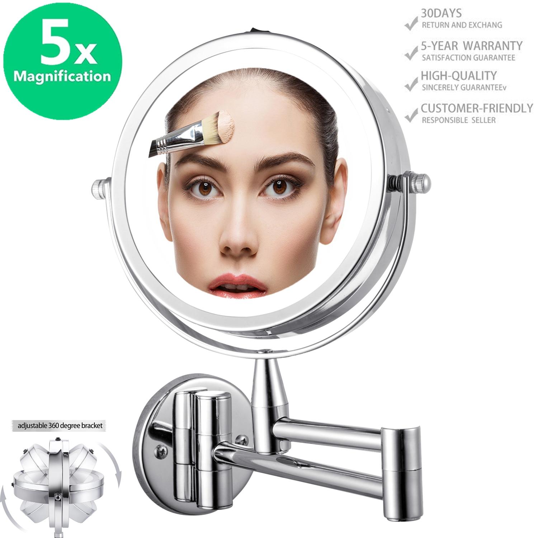 مرآة مكياج LED على الوجهين ، مرآة قابلة للتعديل للتثبيت على الحائط بقطر 15 سنتيمتر 6.0 بوصة ، دوران 360 درجة