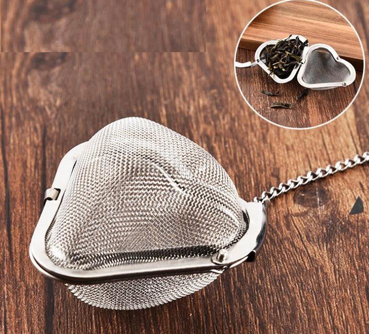 مصفاة شاي من الفولاذ المقاوم للصدأ ، مصفاة شبكية مع فلتر كروي لإبريق الشاي على شكل قلب ، مصفاة شاي SN06
