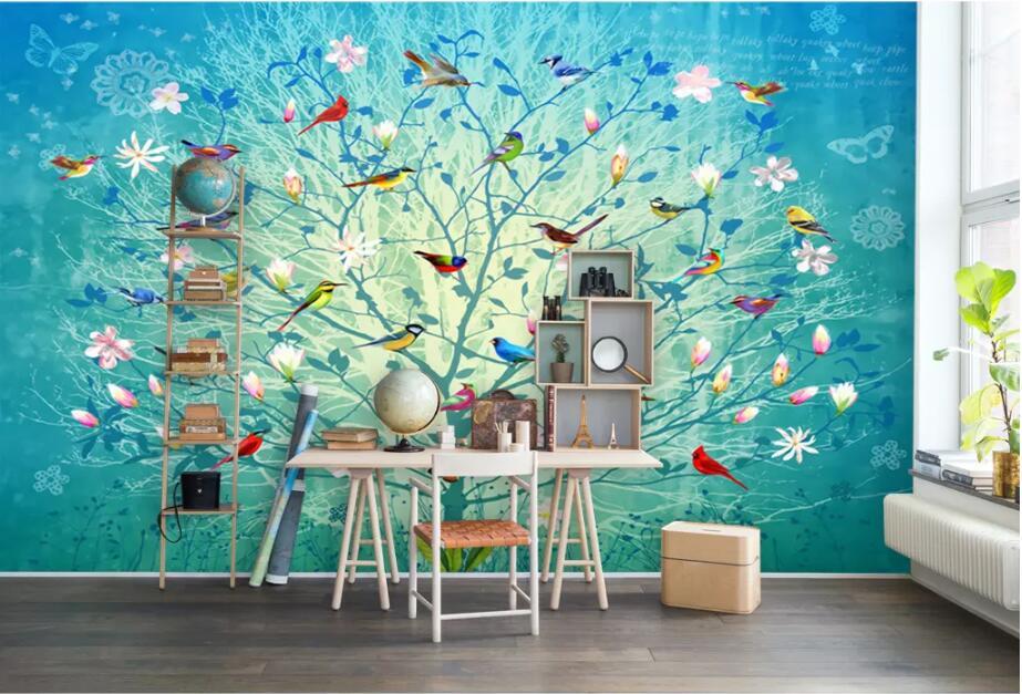 CJSIR personalizado grande foto de moda papel tapiz ramas azules flores pintadas a mano y mural de pájaros papel tapiz de decoración de pared