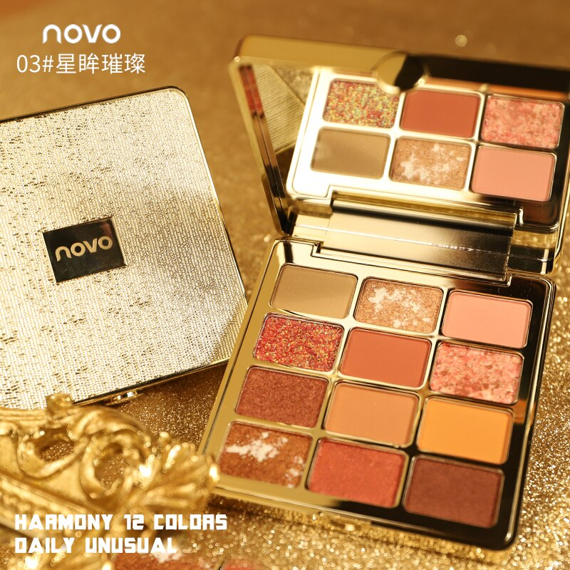 Novo 12 colores purpurina paleta de sombra de ojos impermeable larga duración tierra pigmento de oro pigmento metálico sombra de ojos en polvo BN228