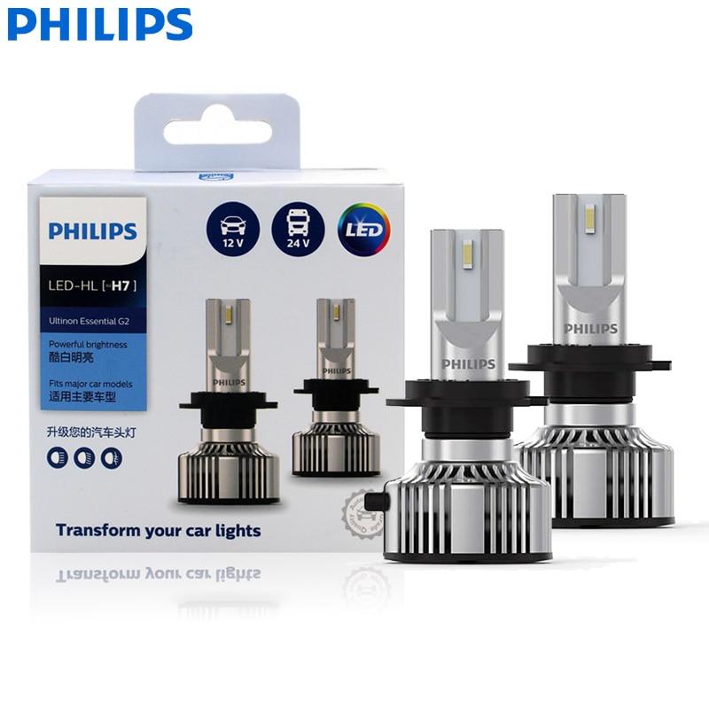 Philips nuevo Ultinon esencial Gen2 LED H7 12 V/24V 20W 6500K Super blanco coche de la luz de faro LED Auto lámparas 11972UE2X2 (paquete de 2)