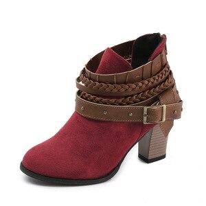 2020 новые стильные осенне-зимние женские кожаные ботинки из полиуретановой кожи, с ремешком и пряжкой на лодыжке круглый носок квадратный каблук Женские ботинки