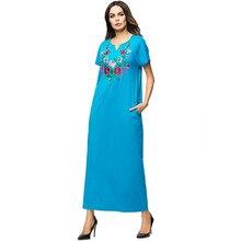 Vestido musulmán turco para mujer, ropa islámica paquistaní, Vestidos sueltos de flores bordadas con bolsillo, Vestidos árabes informales