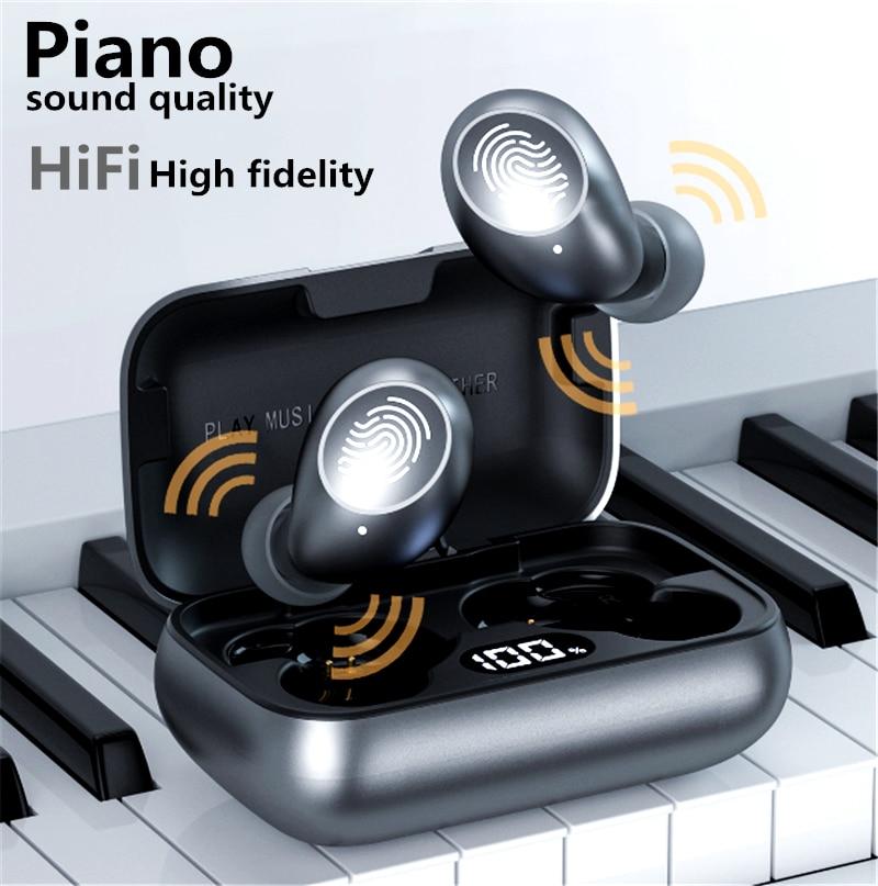 Fone de Ouvido de Liga de Alumínio Case de Carregamento sem Atraso Fone de Ouvido Exibição de Energia sem Fio Bluetooth Tipo-c Controle Inteligente Fones Led 5.0 Tws
