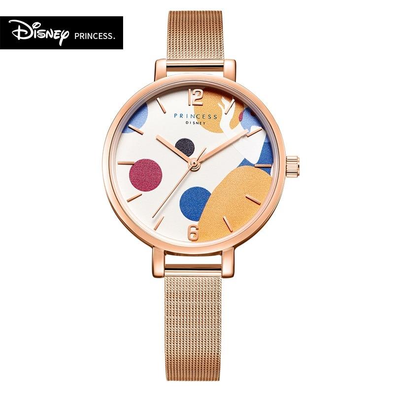 AliExpress - Disney Original Snow White Cinderella Mermaid Cartoon Women Stainless Casual Clock Blue Waterproof Quartz Girl Wristwatch Dress