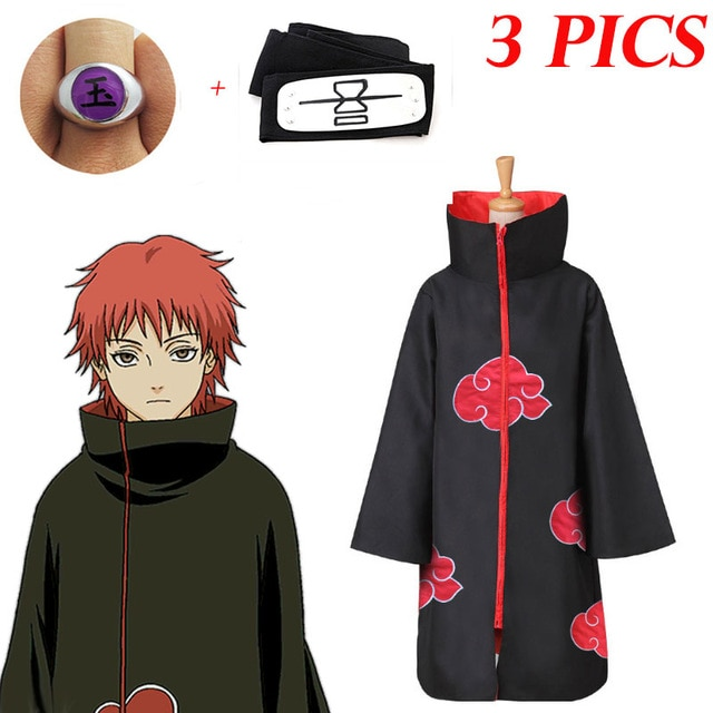 3 PCS New Fashion Anime Sasori Cosplay Black Cloak Costumes For Adult Comic Clothes Headband Kids Ro