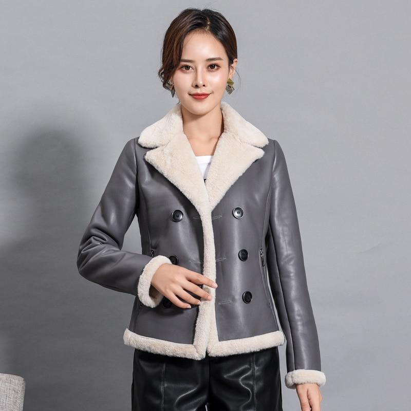 Autumn Winter Leather Fur Jacket Women Warm Thick Plus Velvet Fur Suede Coat Women Plus Size 4XL Short Motorcyle Biker Jacket enlarge