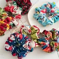 ruoshui woman velvet scrunchies printed hair ties christmas rubber band hair accessories ponytail holders headwear hair rope
