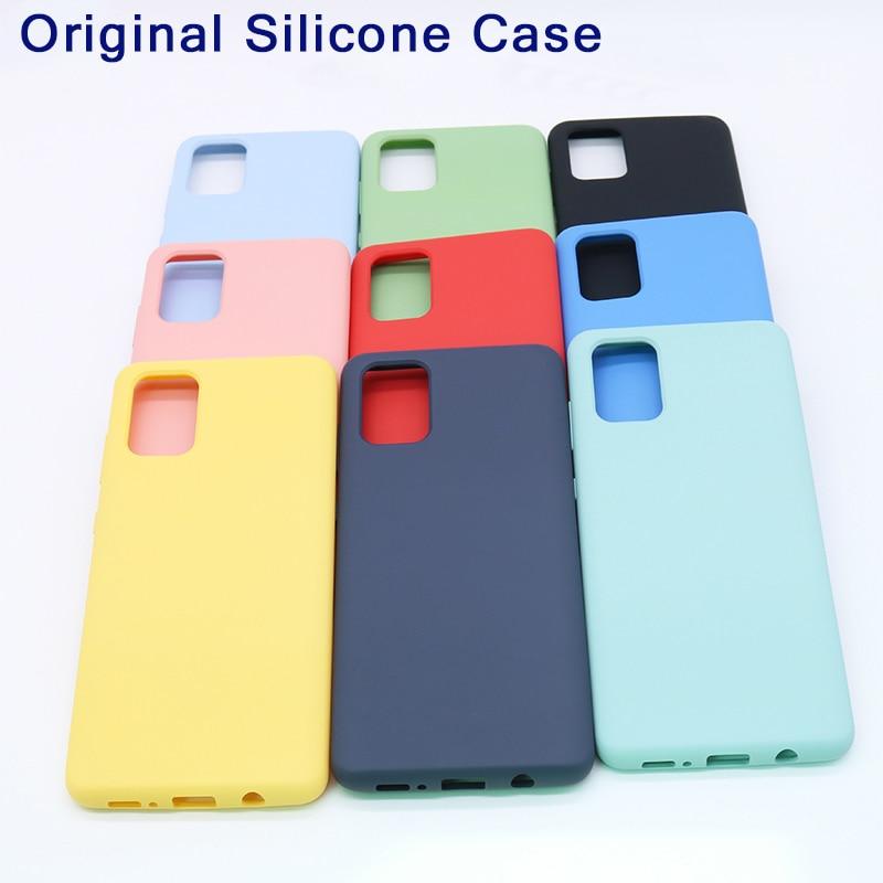 Funda Original para Samsung A30 A40 A51 A71 A81 A91, funda de silicona sedosa de gran calidad, funda protectora trasera de tacto suave para Galaxy S20 Ultra