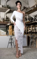 high quality white one shoulder lace open fork rayon dressing dress evening dress cute vestidos