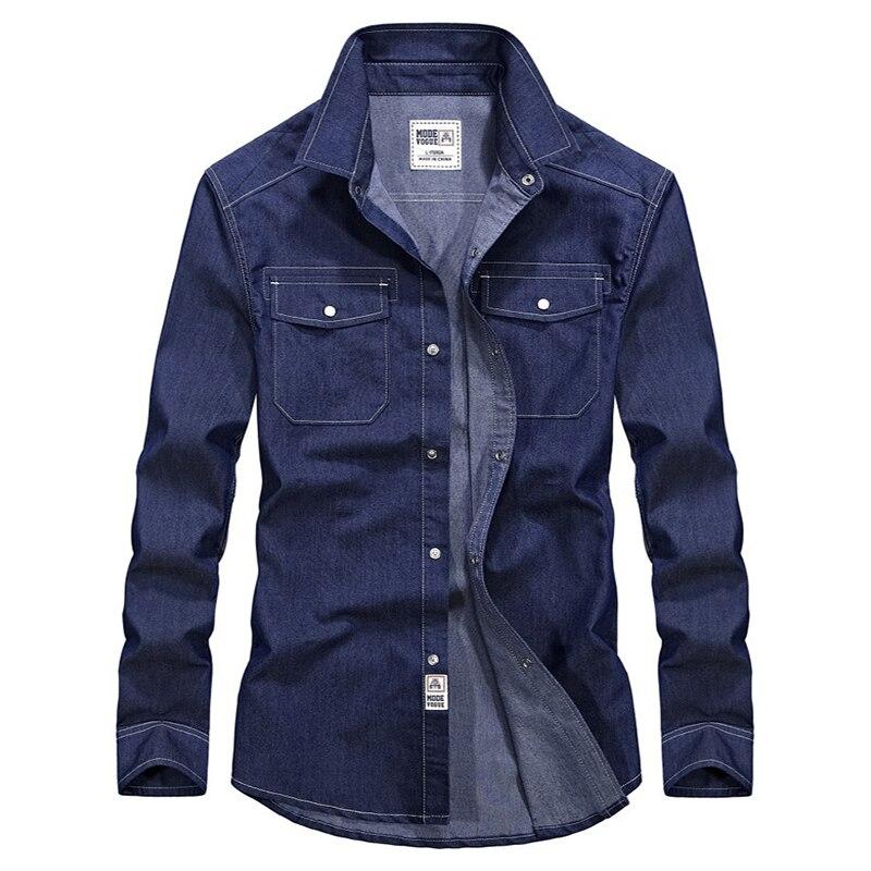 VINRUMIKA 2020 الرجال ربيع الموضة ماركة عادية سليم نمط قمصان رجل الخريف القطن الدنيم الأزرق كم طويل قميص S-XXXL