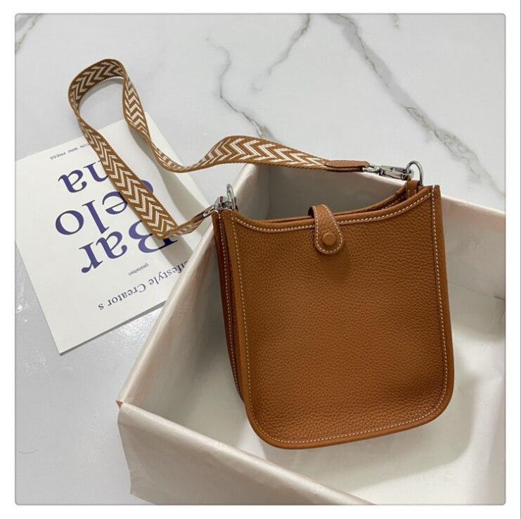 2021 new H shoulder bag with box messenger bag togo leather lychee grain leather bucket bag female b