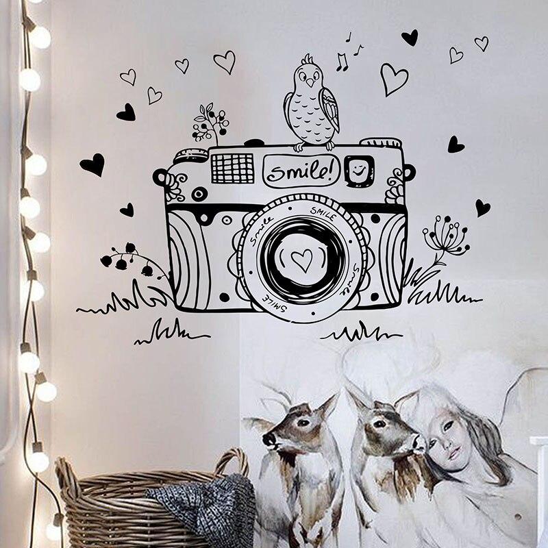 Dormitorio música familia foto Cámara película pared decoración vinilo arte extraíble pared pegatinas dibujos animados Retro Cámara pájaro corazón XL116