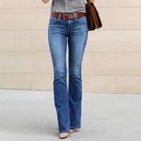boyfriend jeans girls elastic waist slim fit elegant female denim trousers bell bottom y2k vintage streetwear flared pants women