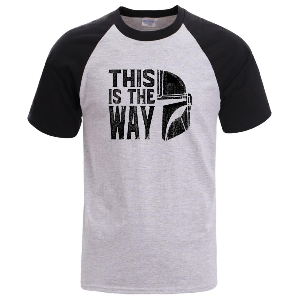 This Is The Way Raglan Shirt Mandalorian Men T Shirt Baby Yoda Summer Tshirt Male Short Sleeve Cotton Tops Star Wars Sportswear