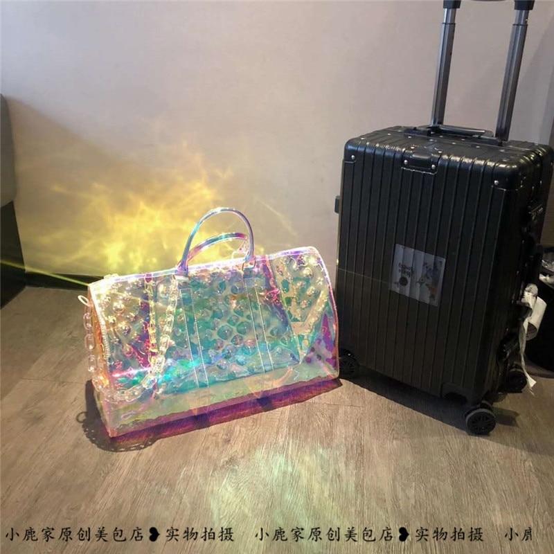 2021Luxury High Quality  Beach PVC Transparent bag Large Capacity Handbag Female Bag  Travel Bag