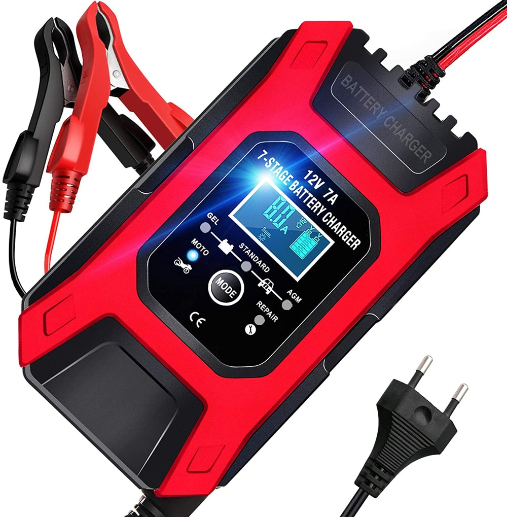 FOXSUR 7A 12V 7-Stage Automatic Smart Fast Battery Charger Car Motorcycle Pulse...