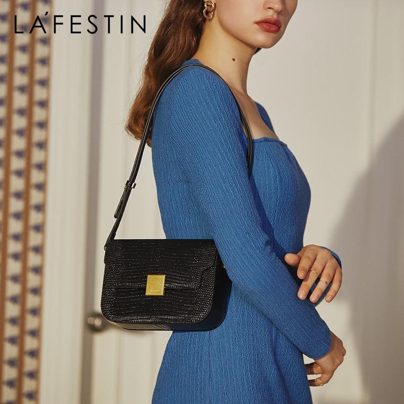 LA FESTIN Designer Lizard Print Shoulder Bags 2021 New Trendy Shoulder Messenger Bag Retro Crossbody