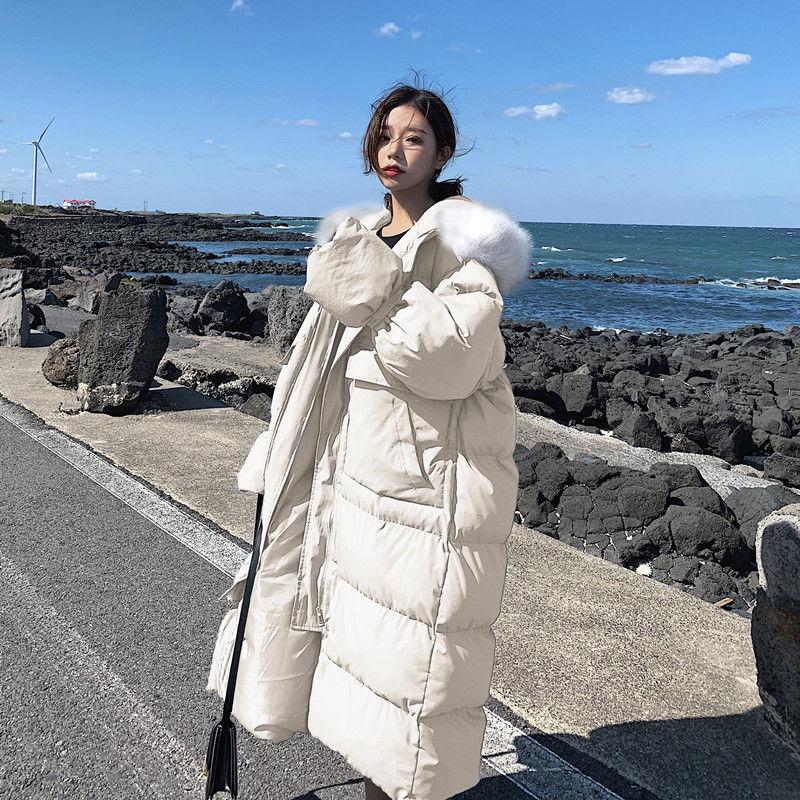2021 شتاء جديد سميكة الخبز الملابس القطن وسادة مبطنة المرأة طويلة الإفراط في الركبة معطف القطن وسادة مبطنة المد