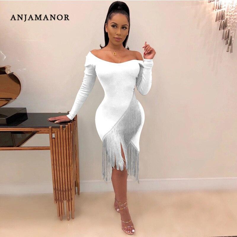 ANJAMANOR сексуальное платье с v-образным вырезом и длинным рукавом, платье с кисточками размера плюс, осенне-зимние платья, элегантное вечернее Клубное платье, D37-AD63