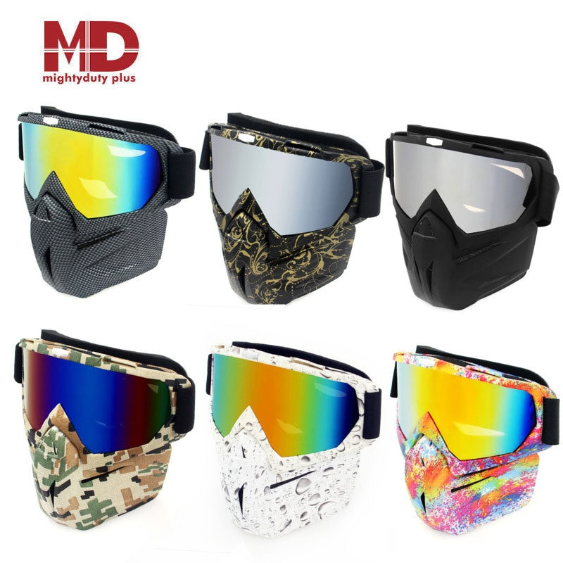 Motorcycle Helmet Mask Glasses Motocross Mouth Goggles UV Protection Bike For Halley Helmet Cycling Dirt Mask Sunglasses Goggles mounchain lightweight unisex cycling helmet with detachable magnetic goggles aerodynamic helmet for motorcycle bike riding