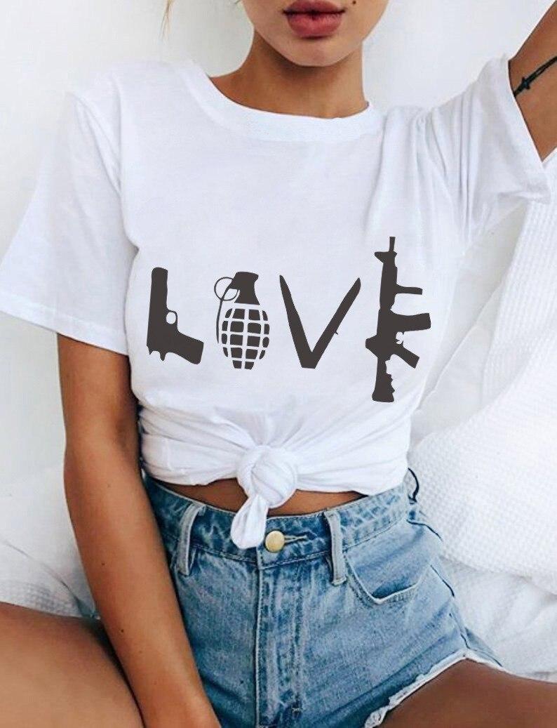 Женский костюм-платье, футболка с коротким рукавом и буквенным принтом, футболка с ружьем, футболка с коротким рукавом, модная женская футбо...
