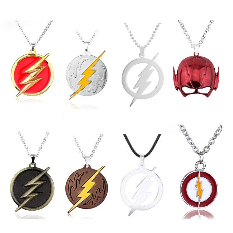Nueva moda de DC Marvel, collar con colgante de Flash con cinta colgante de cómic The cinta para hombre, cadena de Color dorado, collar con abalorios con logotipo de rayo