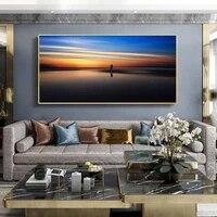Peinture a lhuile de paysage  voile de mer  coucher de soleil  toile dart  salon  couloir  bureau  decoration murale de la maison