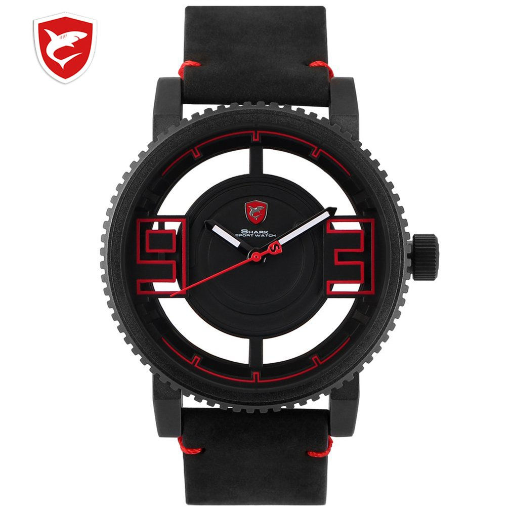 Megamouth Shark Sport Watch 3D Special Transparent Hollow Dial Design Luxury Brown Leather Band Men Creative Watches Gift 2020