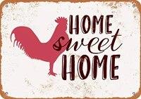 Plaque decorative en metal retro  8x12 pouces  maison douce avec poulet  Vintage  en etain  decor artistique mural