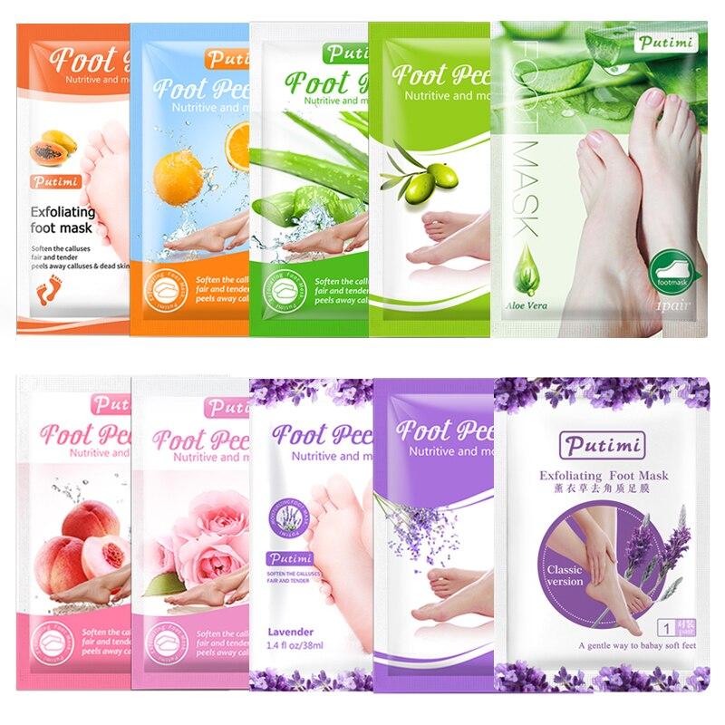 PUTIMI Lavender Feet Mask Peeling Dead Skin Exfoliating Foot Mask Peel Patches Remover Dead Skin Feet Care Pedicure Foot Socks